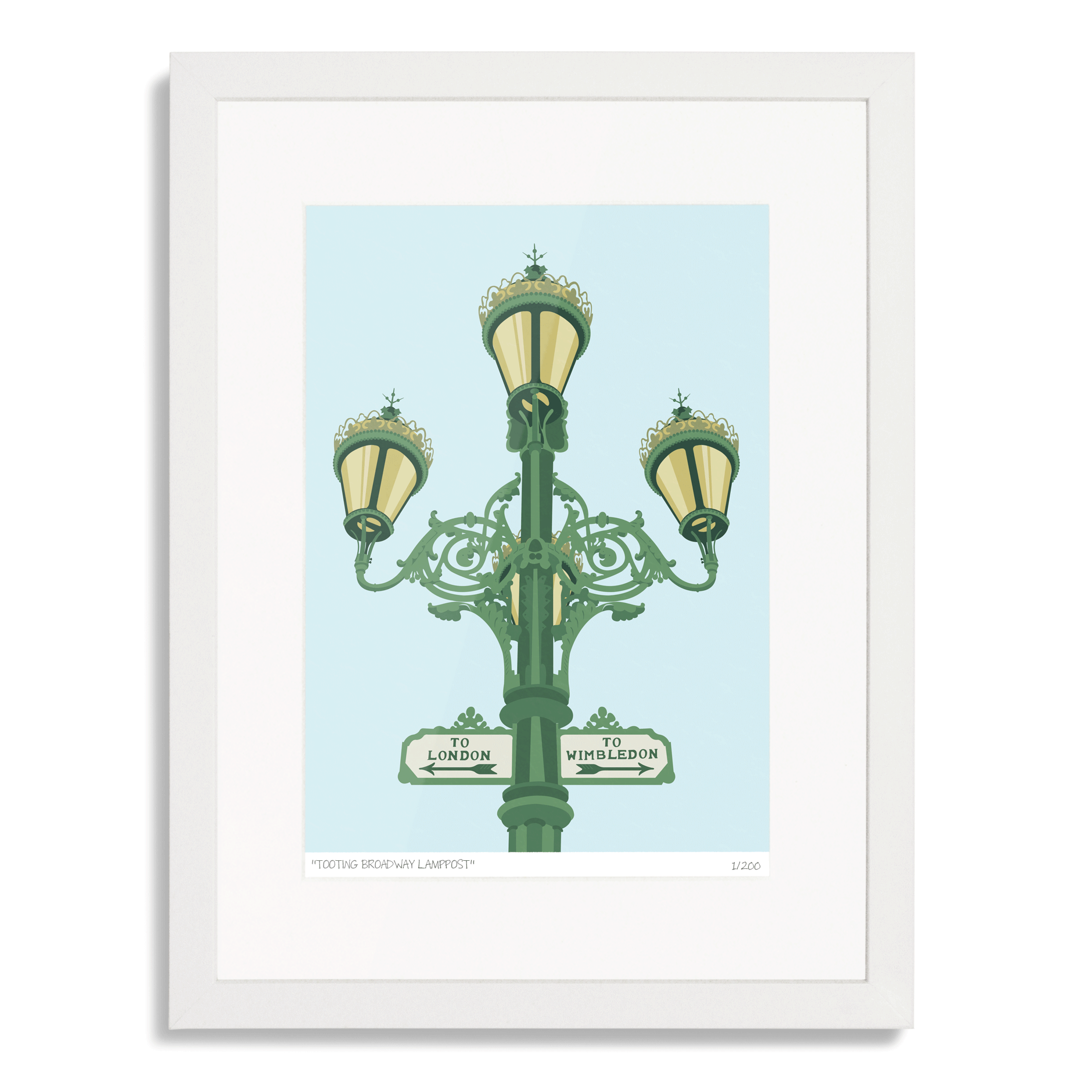 This limited edition print of the Tooting Broadway Lamppost is a celebration of the structure. The print is limited to just 200 copies, and is hand-titled and numbered.