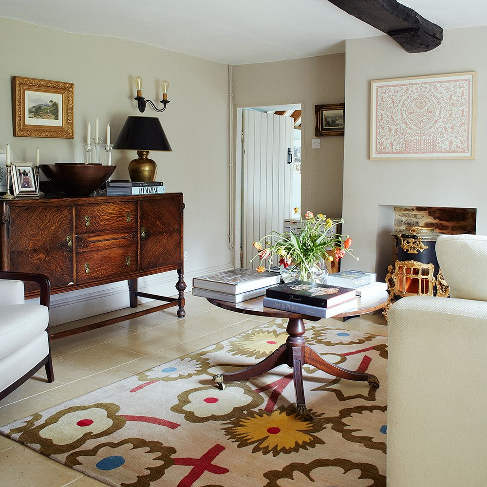 neutral country living room with traditional furniture