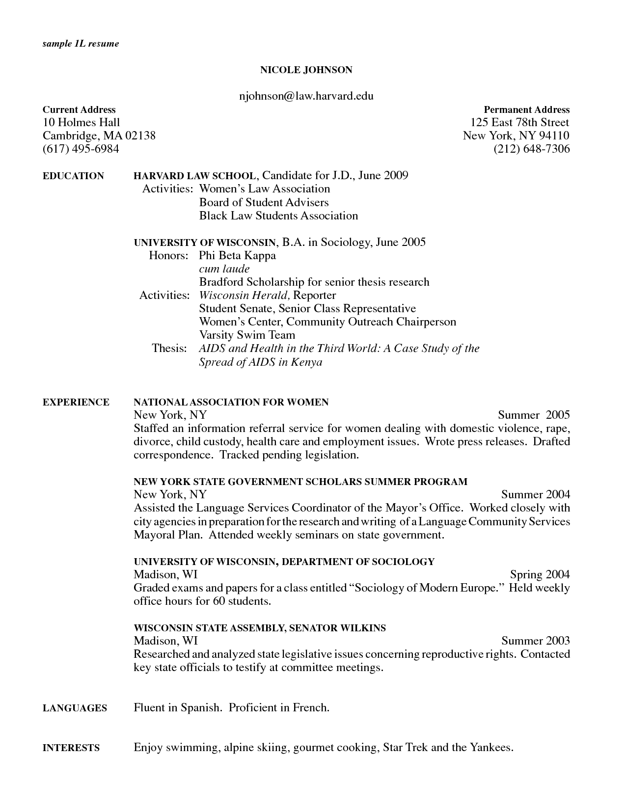 resume for law graduate