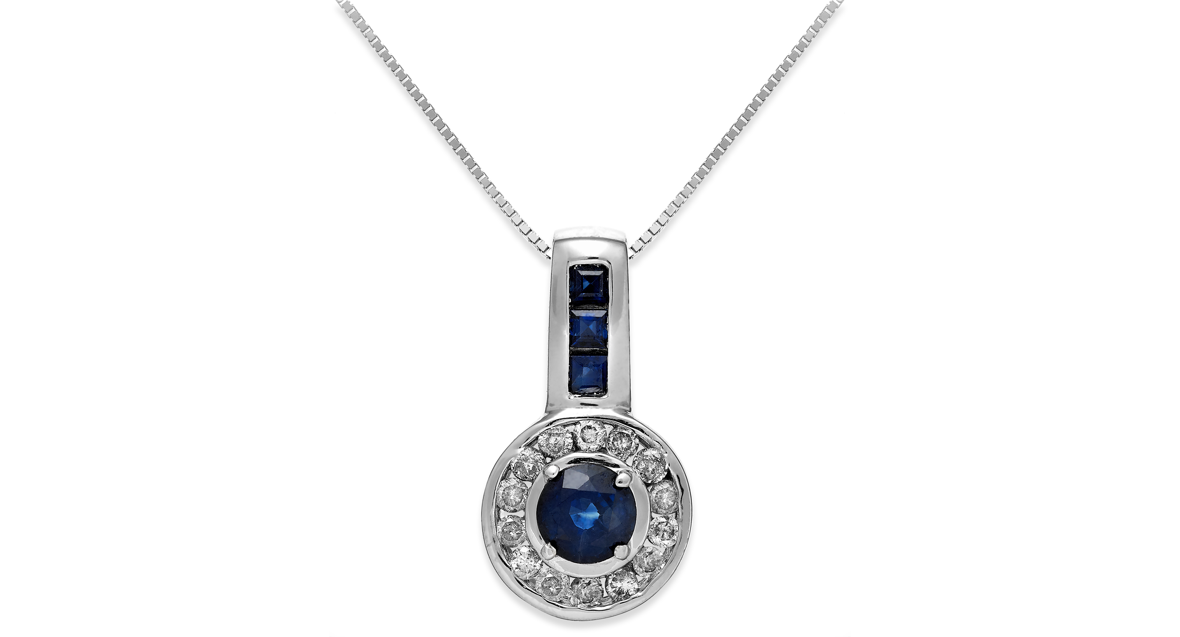 Sapphire (5/8 ct. t.w.) and Diamond (1/5 ct. t.w.) Circle Pendant Necklace in 14k White Gold