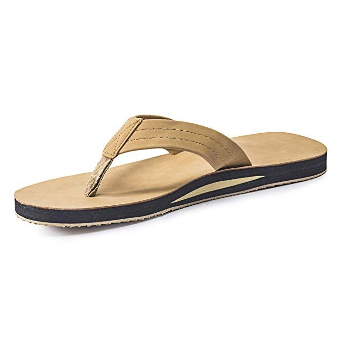400623f0c FITORY Mens Flip Flops,Leather Thong Sandals with Arch Support Lightweight  Beach Slippers Review