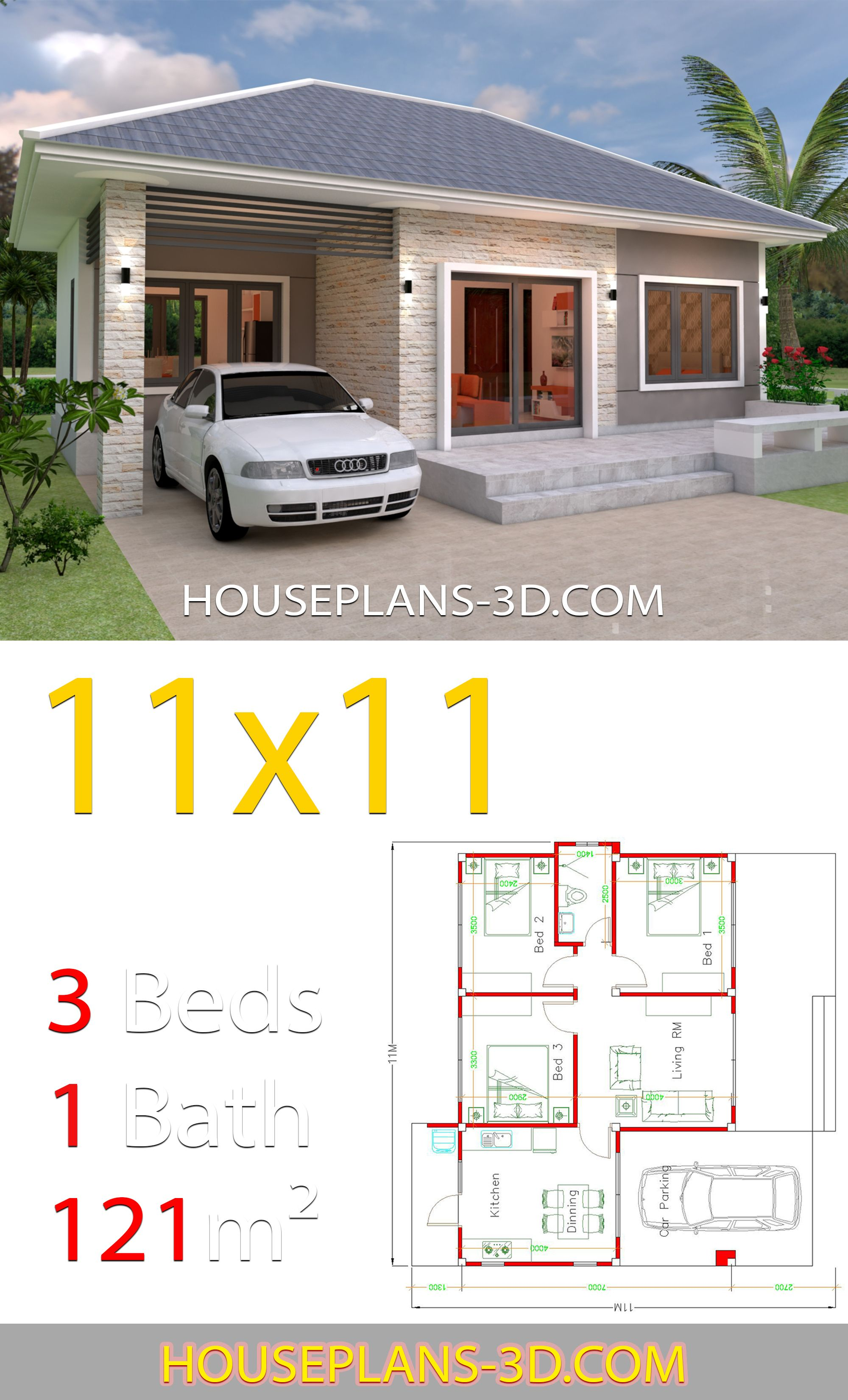 House Design 11x11 With 3 Bedrooms Hip Roof House Plans 3d Simple House Design Affordable House Plans House Plans