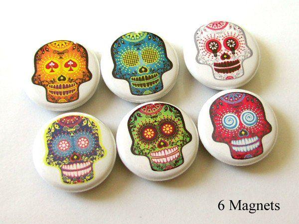 Funky Sugar Skull MAGNETS day of the dead dia de los muertos halloween - Art Altered  - 1