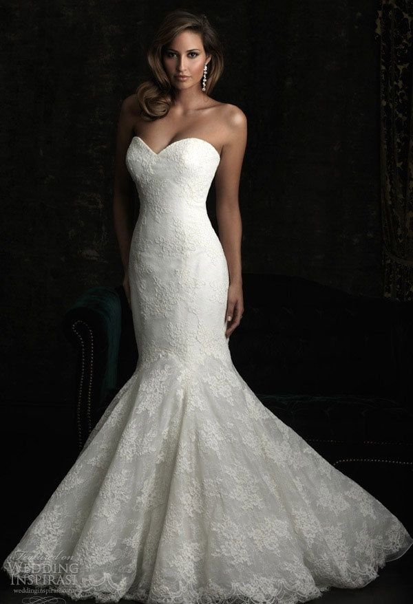 Strapless backless sweetheart mermaid trumpet romantic lace wedding ...