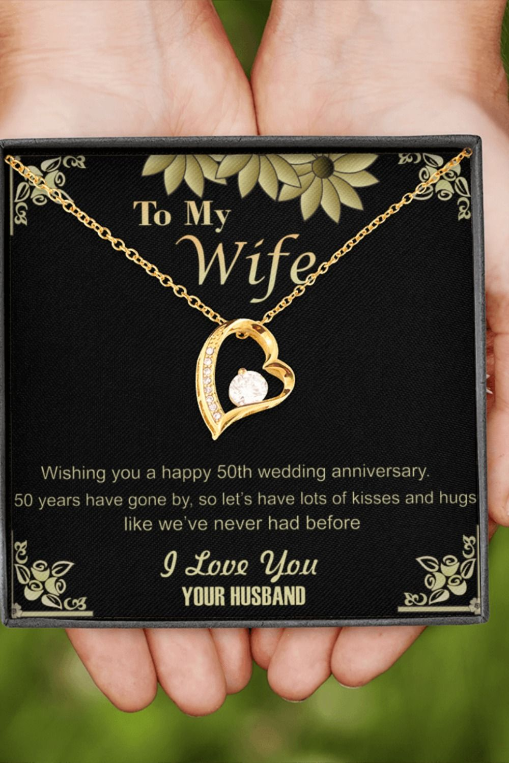 50th Golden Wedding Anniversary Pendant Necklace Gift For Wife Her Gold Present Jewelry Ideas In 2020 50 Golden Wedding Anniversary 50th Wedding Anniversary Wishes Golden Wedding Anniversary