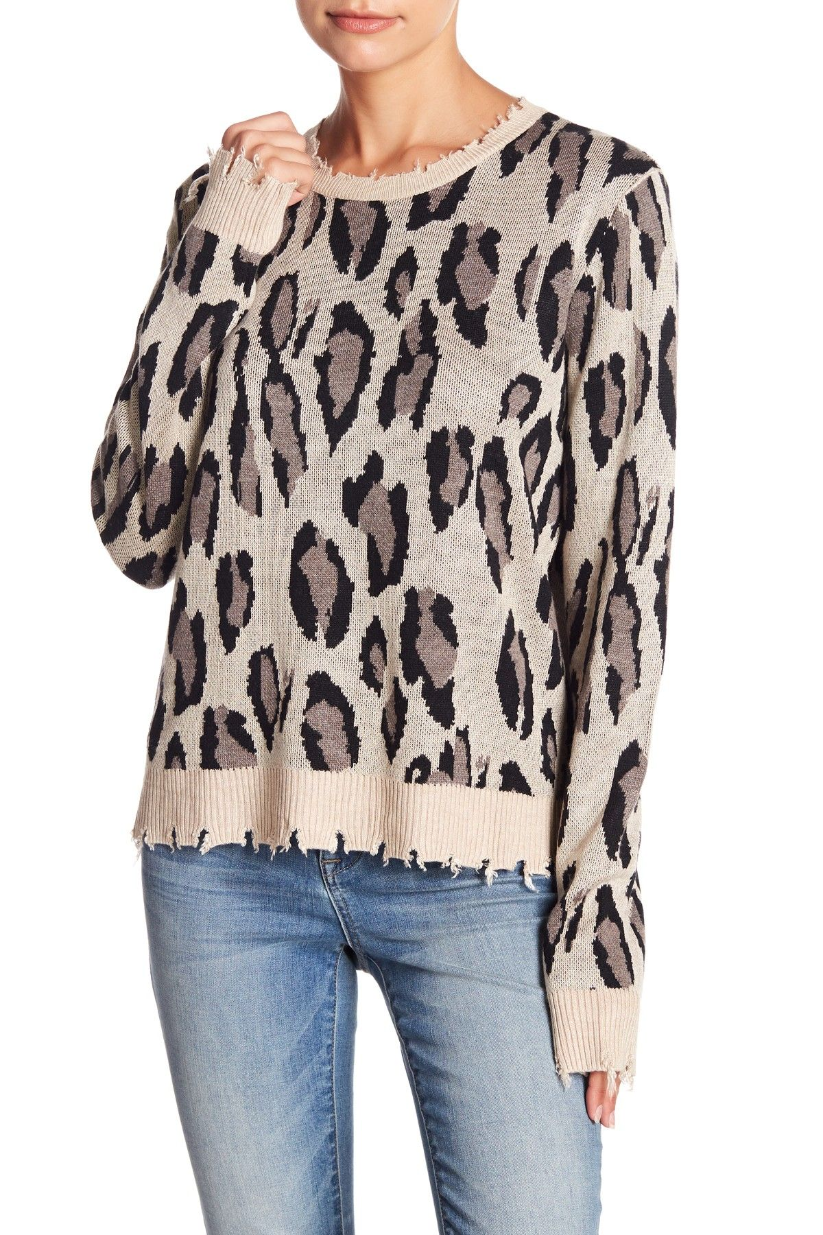 5761127e4de0 Distressed Leopard Print Sweater   Products   Fashion, Sweaters, Blouse