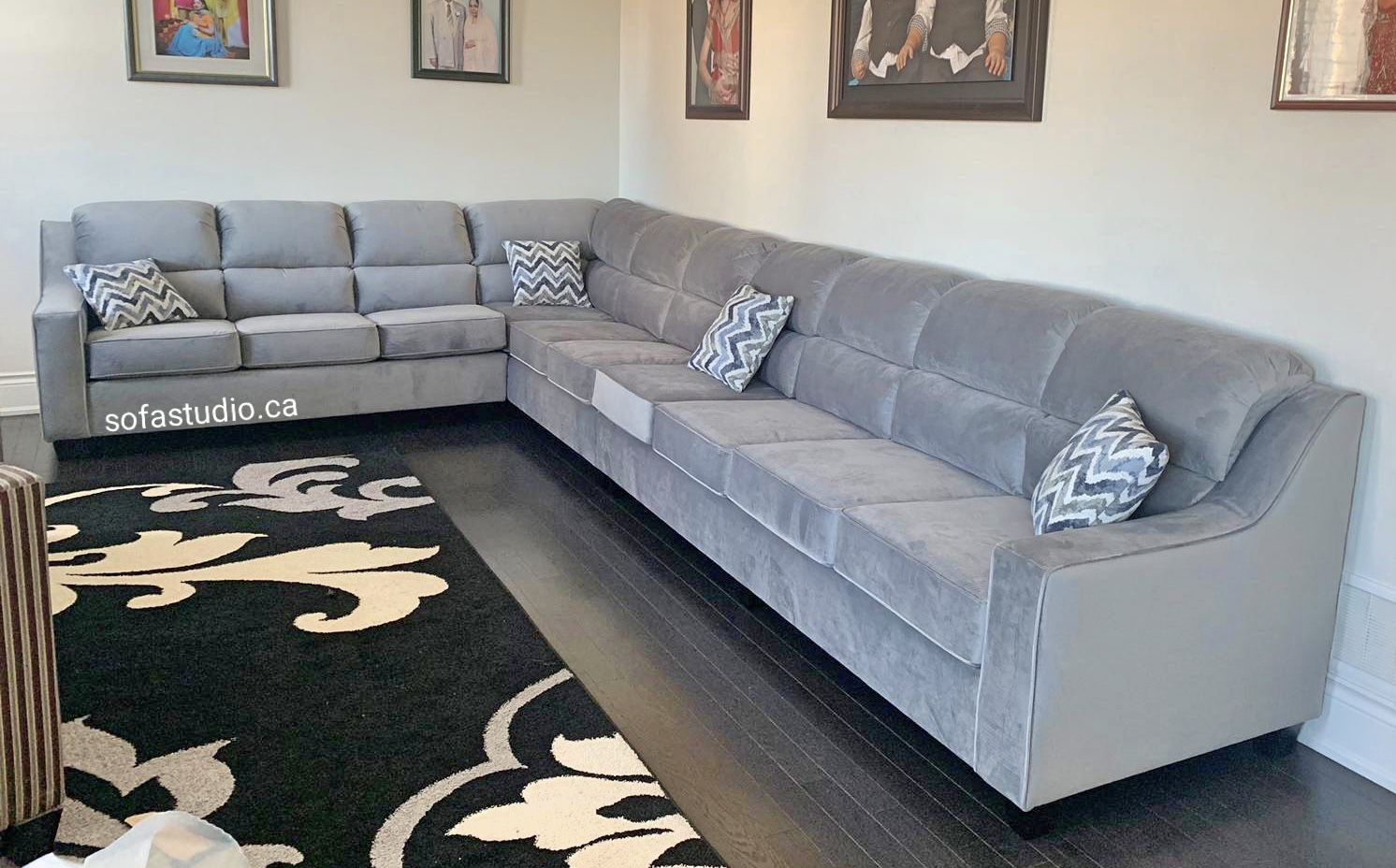 Grey Velvet Canadian Made Custom Sofa Manufactured And Designed By