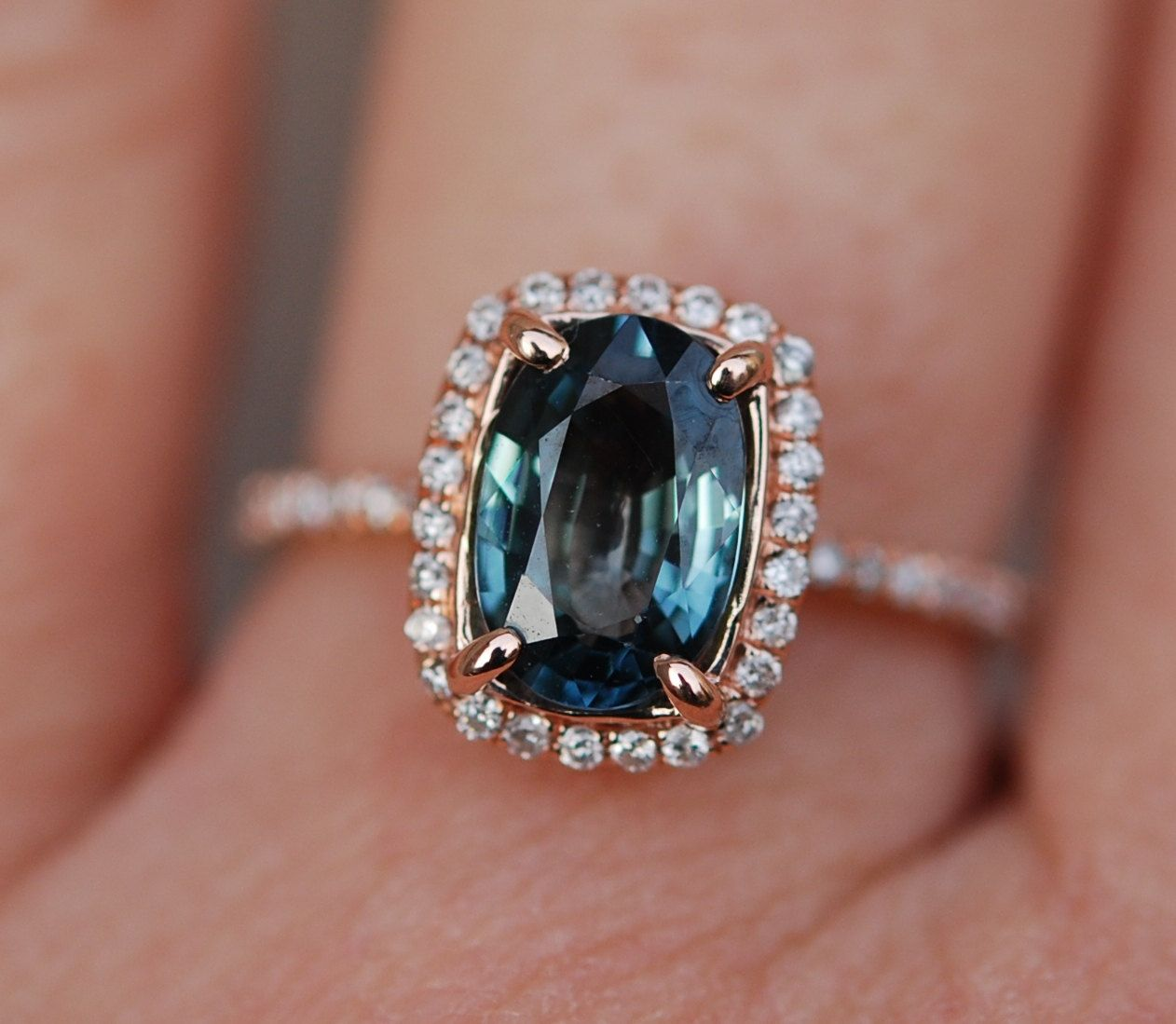 Blue Green Sapphire #engagement Ring Teal #sapphire 17ct Cushion Halo #