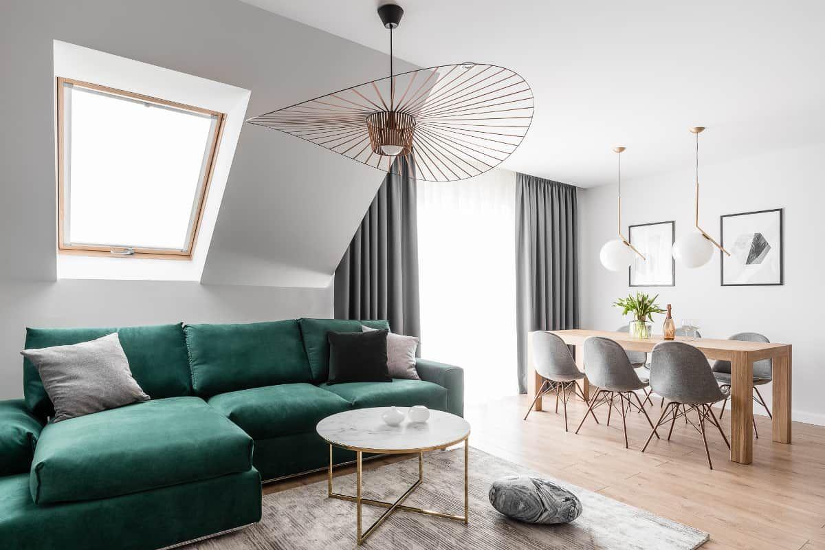 Interior Design Trends 2021 Bold Accent Furniture Green Sofa Living Room Home Design Living Room Green Sofa Living Living room trends 2021