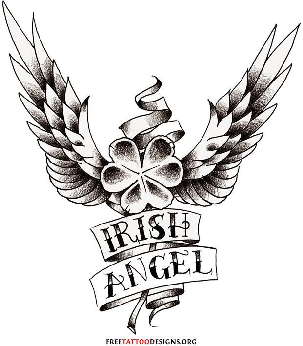 Angel Clover Tatoos Clover Wings Tattoo Tattoos Design Clover Tattoos Claddagh Tattoo Irish Tattoos