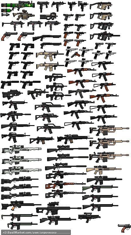 Gun Sprites Redone Weapos Pinterest Armes Militaires