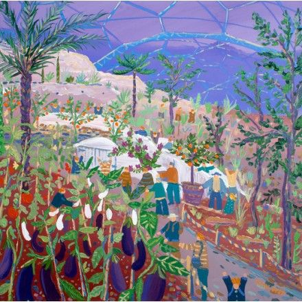Aubergine Blues. The Eden Project. Artist in Residence. Original Painting by John Dyer