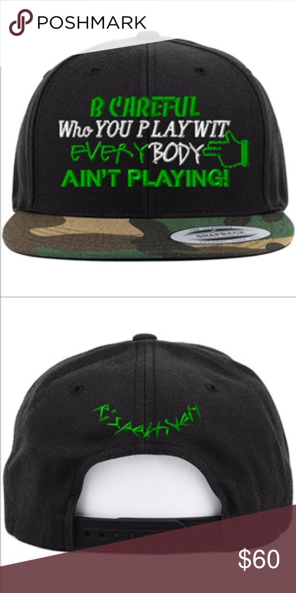 0269c96cd79 Camo Cap Hat Green Fashion Rap Snapback B CAREFUL