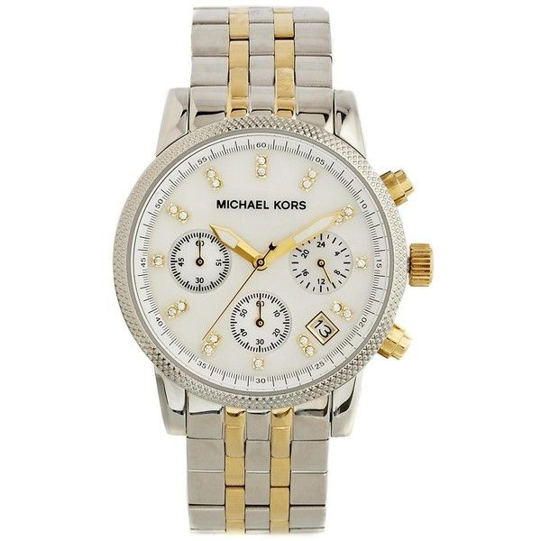 Michael Kors Ritz Two Toned Watch MK5057 ($240) ❤ liked on Polyvore featuring jewelry, watches, silver, two tone jewelry, 2 tone watches, hammered jewelry, silver jewelry and two tone watches