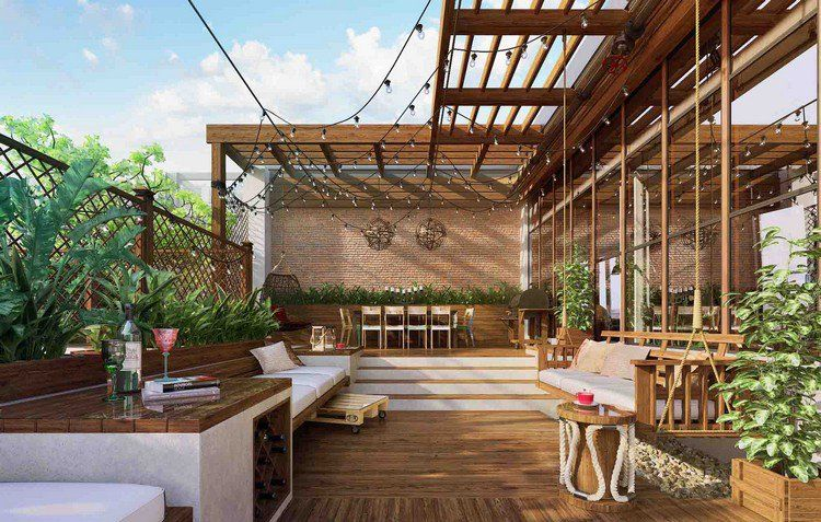 idée déco terrasse pas cher avec des meubles en bois, plantes ...