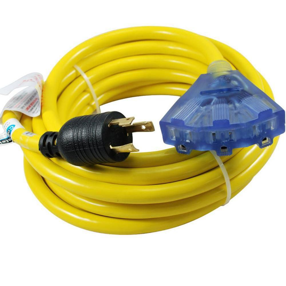 25 Ft 10 3 30 Amp 125 Volt L5 30p Locking Plug To Household Tri Outlets With Light Indicator Outlets Extension Cord Plugs