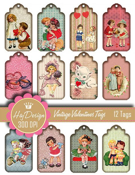 SALE  Vintage Valentine Gift Tags 12 Printable by HajDesign, $1.90