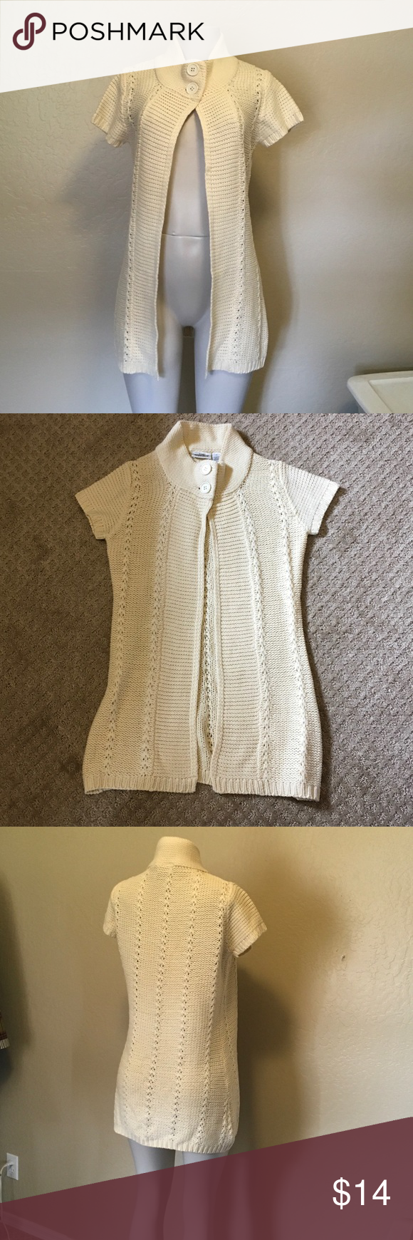 Neutral Chunky Knit Short-sleeve Long Spring Cardi | Flaws, Short ...
