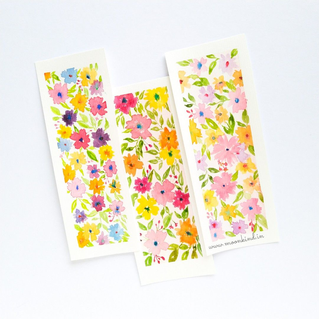 Flower Power Bookmarks Made Using Watercolors Materials Used