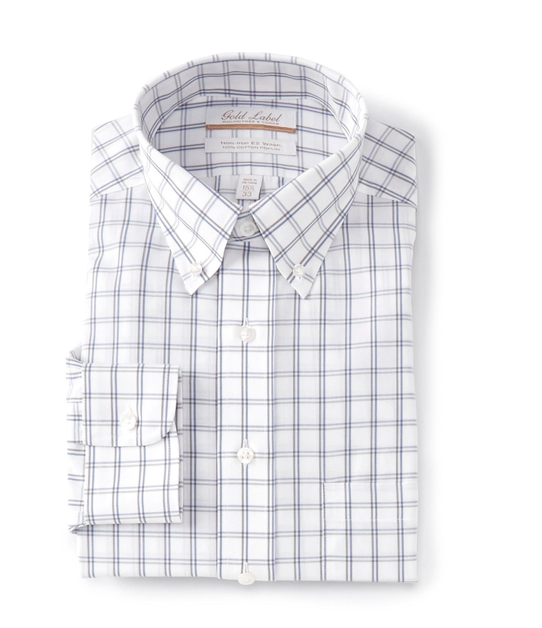 From Gold Label Roundtree & Yorke, this fitted button-down collar dress shirt features:Checked patternButton-down collarButton frontSingle patch pocketExact sleeve length for the perfect fitButton cuffsBack yoke with box pleatTaped shoulder and side seamsCurved hemWrinkle-free; no iron neededEasy Wash finish on cuffs and collar releases stains in washerCottonImported.