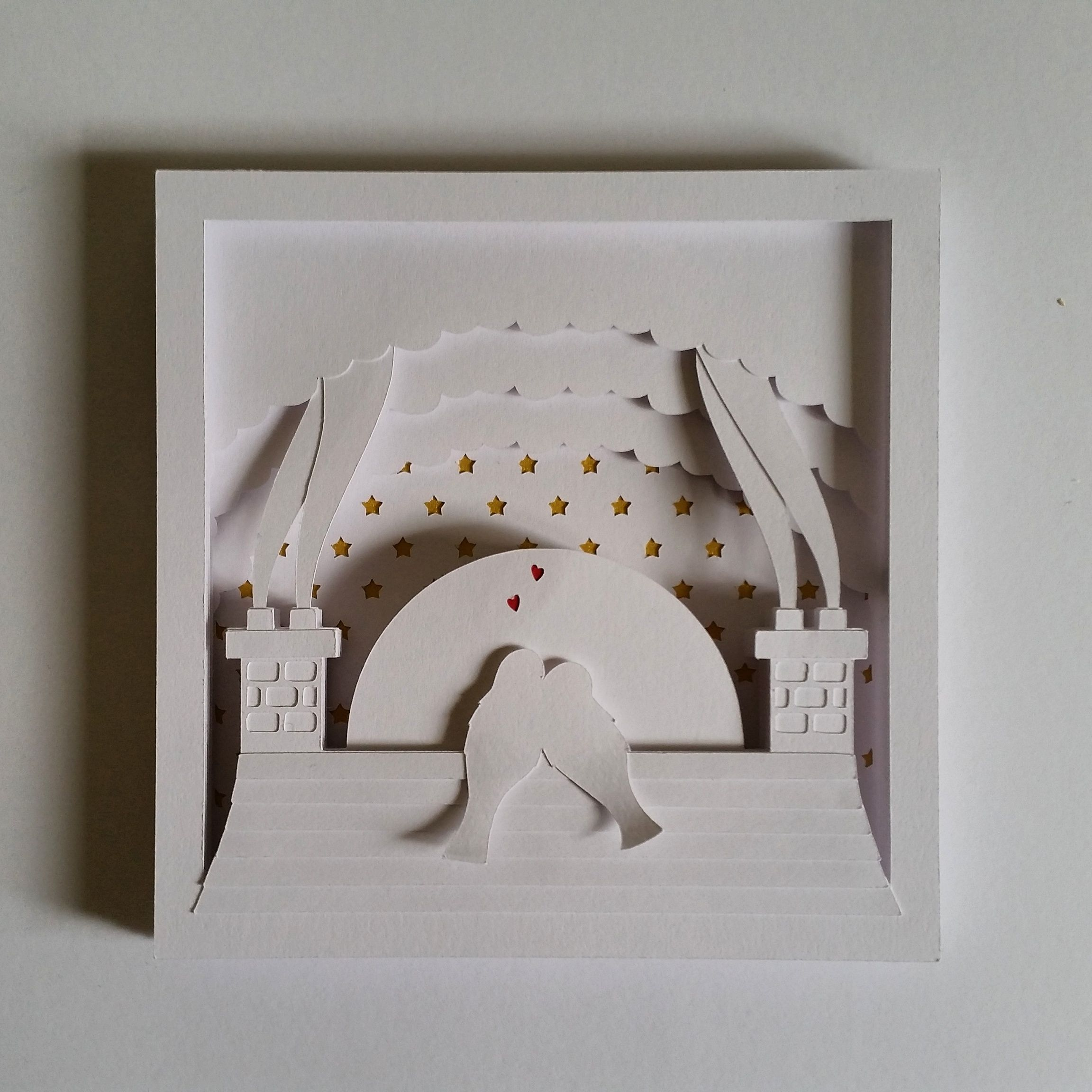 Rooftop Love Birds Papercut Shadow Box DIY Template Available Notjustpaperboutiquecouk