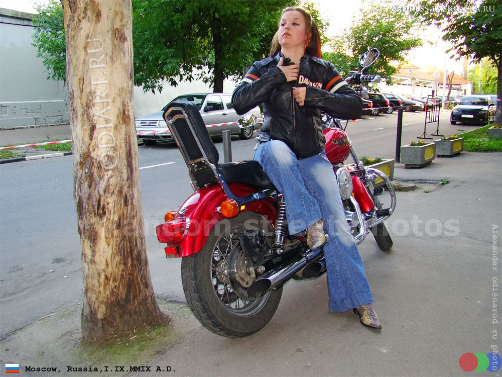 russian girl in harley davidson jacket. moscow, russia, september