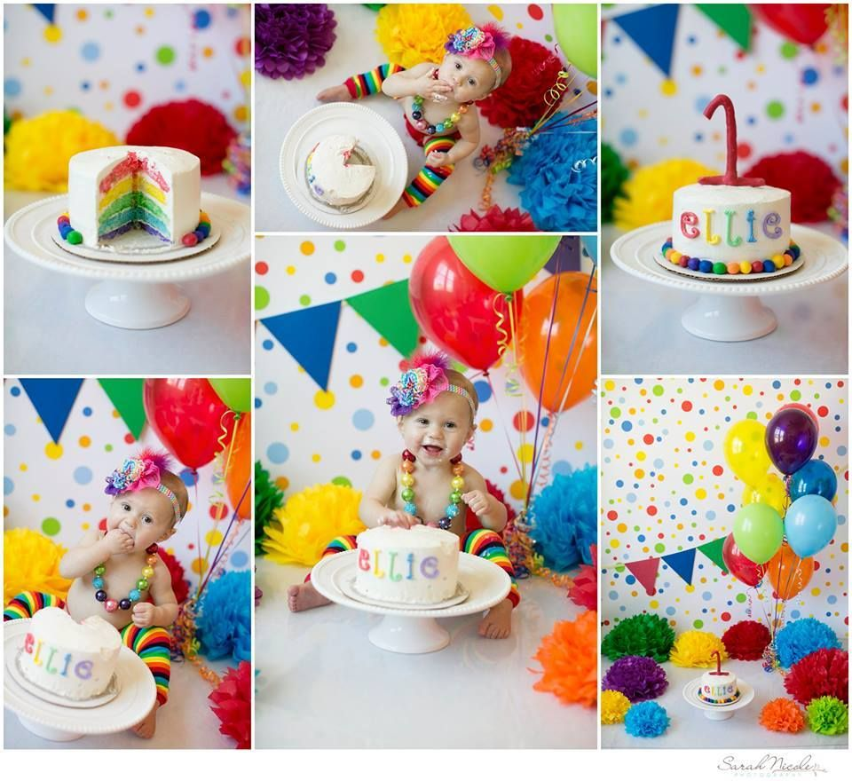 polka dots cake smash, rainbow cake smash Birthday cake