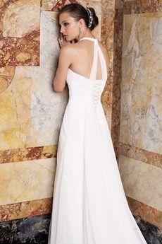 Robe de mariée Blanc Traîne chapelle Naturel taille Perlé Formelle