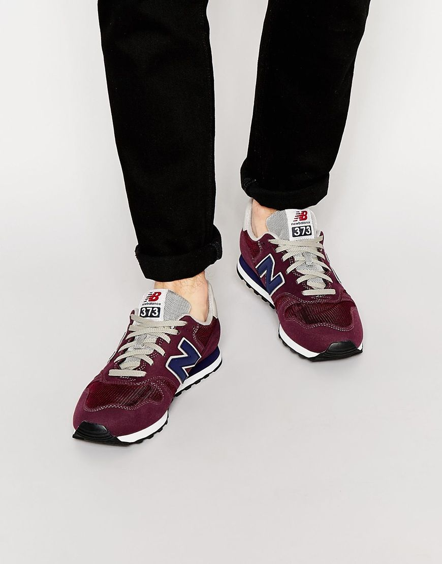 new balance burgundy 373 suede & mesh trainers