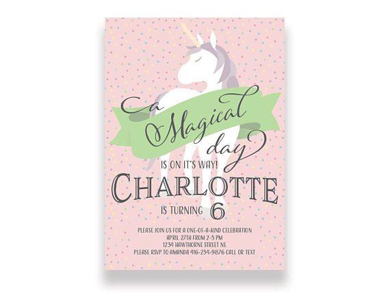 Printable Birthday Stationery Paper ~ Unicorn birthday invitation printable unicorn birthday invite