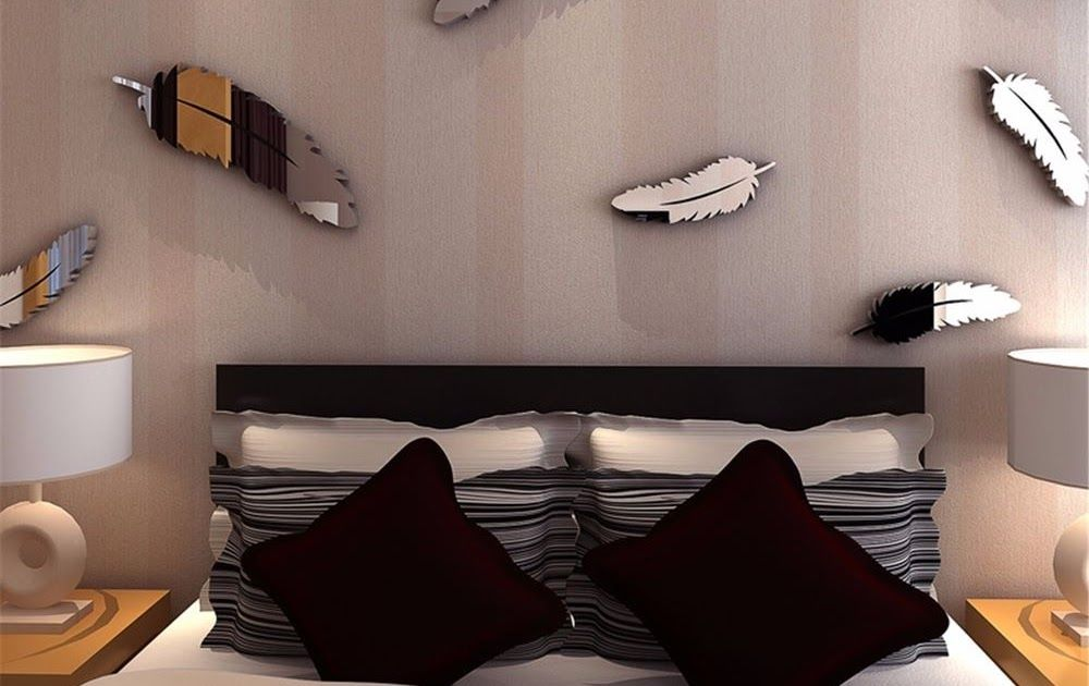 8X DIY Feather 3D Mirror Wall Art Stickers Decal Home Bedroom Mural ...