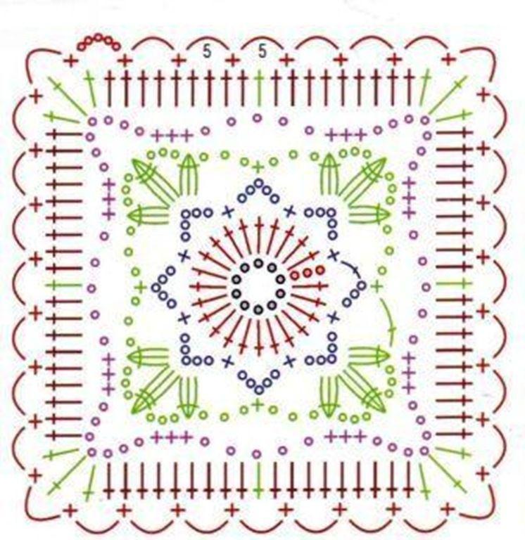 nice granny | Crochet | Pinterest | Ganchillo, Cuadrados y Tejido