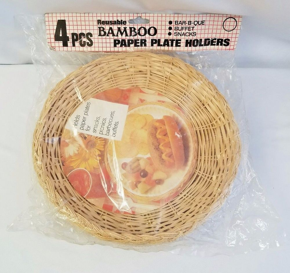 Bamboo Paper Plate Holders 4 pieces Reusable Vintage New sealed package  sc 1 st  Pinterest & Bamboo Paper Plate Holders 4 pieces Reusable Vintage New sealed ...