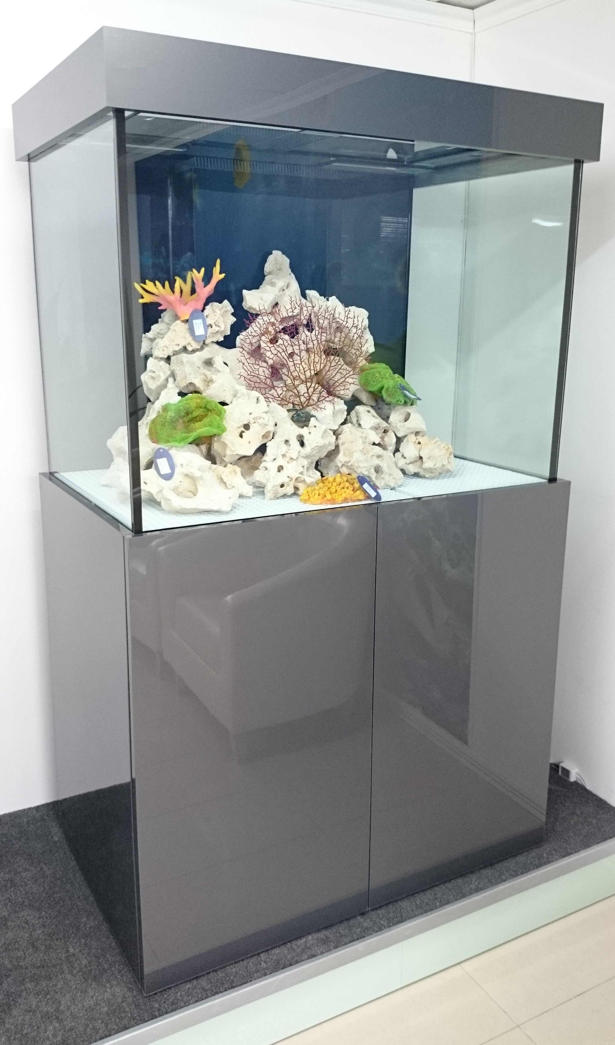 "Marine Aquarium 36""x30""x24"" Modern Design Cabinet in High Gloss Grey"