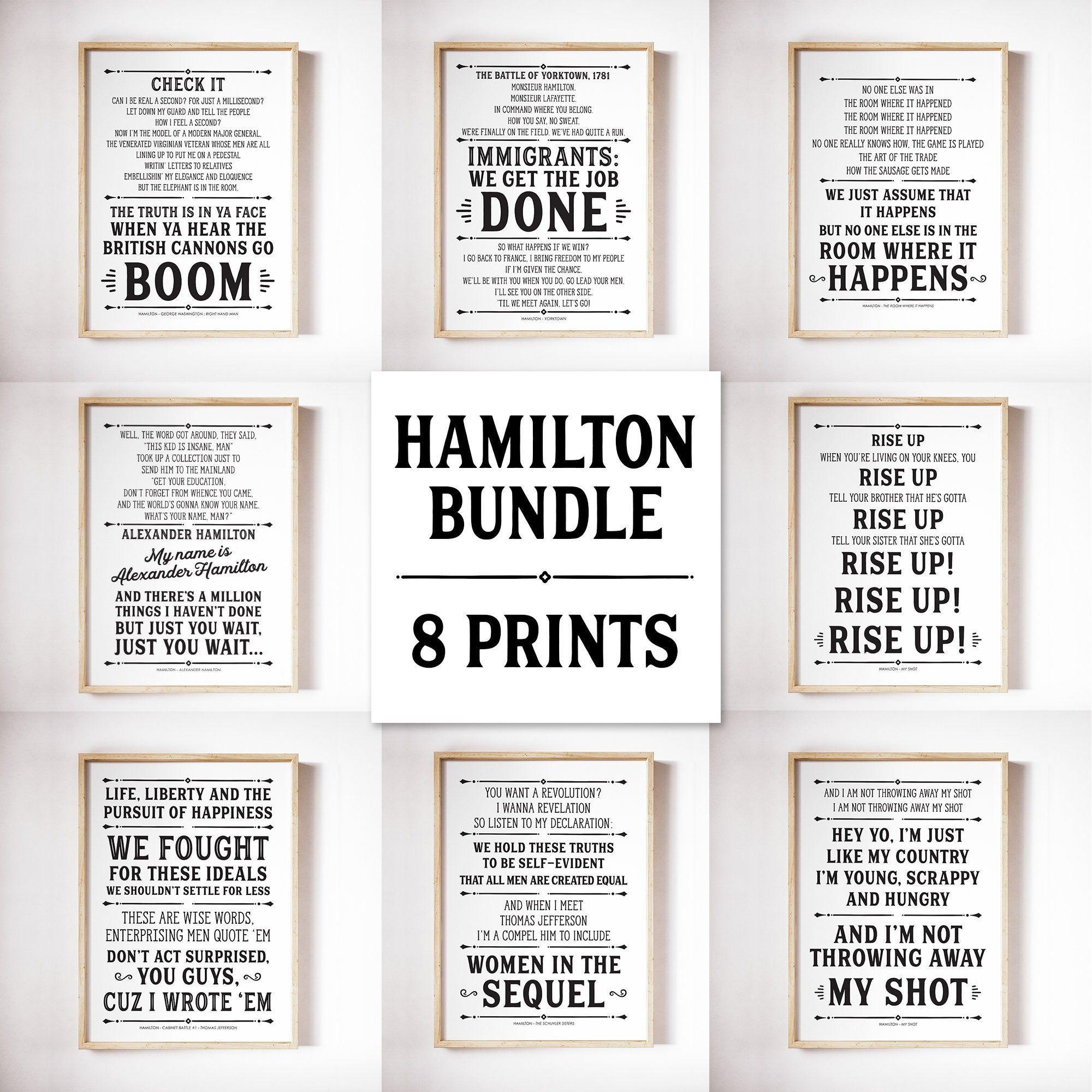 Hamilton Print Bundle Hamilton Musical Alexander Hamilton Hamilton Print Musical Theatre Hamilton Gifts H In 2020 Hamilton Gifts Hamilton Musical Etsy Printables