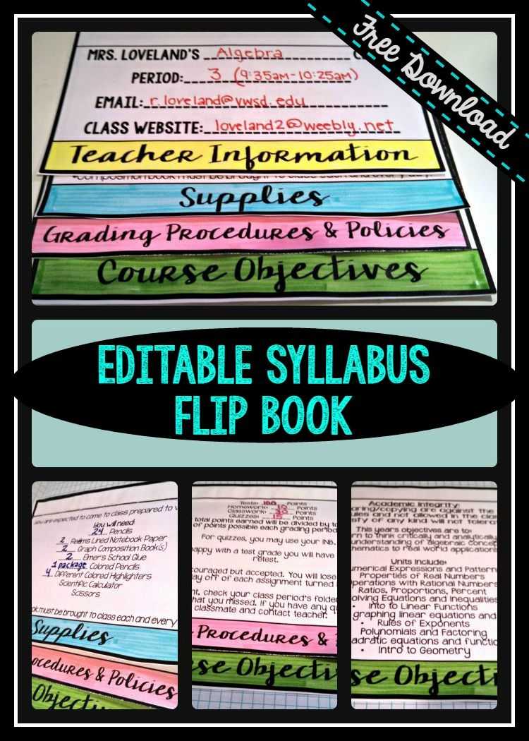 Free Editable Powerpoint For Creating A Flip Book Syllabus Middle School Math Teacher Teaching Elementary Flip Book