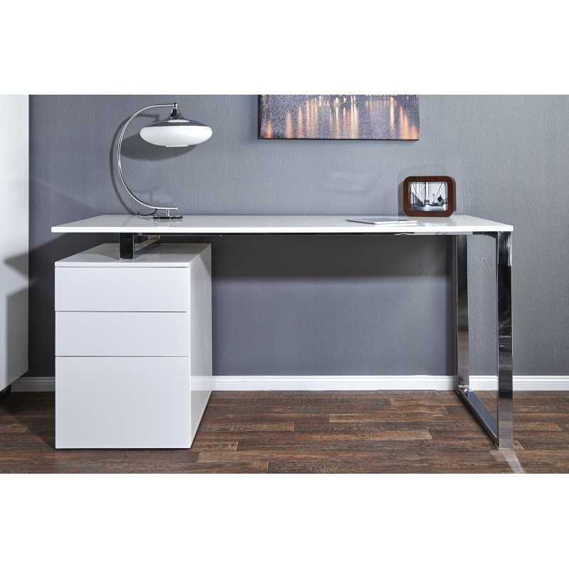 Bureau Design Avec Rangement Coloris Blanc Brillant Interieur