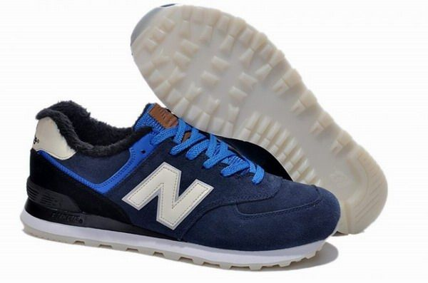 Joes New Balance ML574 Sneakers in the Dark Wool Fur Winter Deep Blue White  Suede Mens