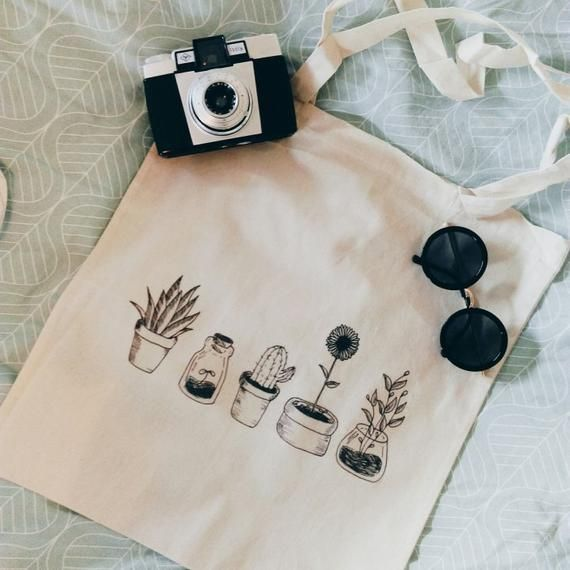 Photo of Cotton canvas tote bag cheap all cactus plants black and white