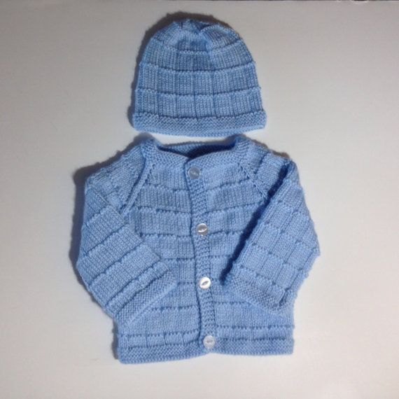 319db721e Hand Knitted Sweater set cardigan and hat for boy or by olinnell ...