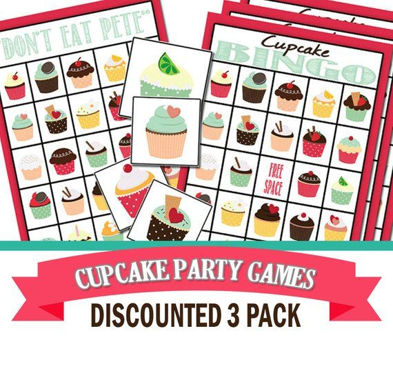 Cupcake Party Game Three Pack Cupcake Party Baking Birthday