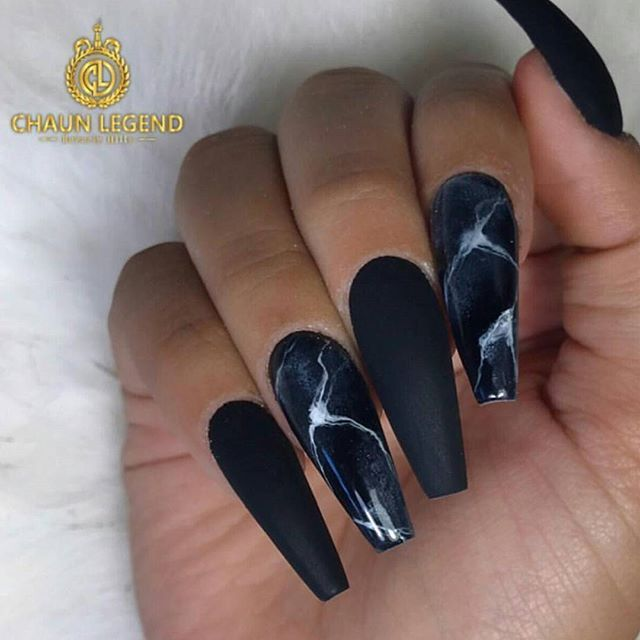 Coffin Black Matte With Shiny Marble Nail Design Beautiful Nails Done By Chaunlegend Dedicated To Black Nail Designs Coffin Nails Designs Matte Nails Design