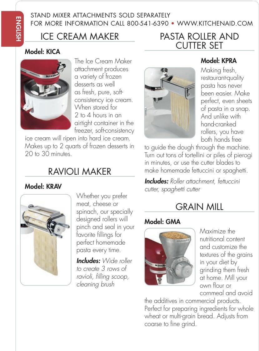Kitchenaid stand mixer attachments ice cream maker con