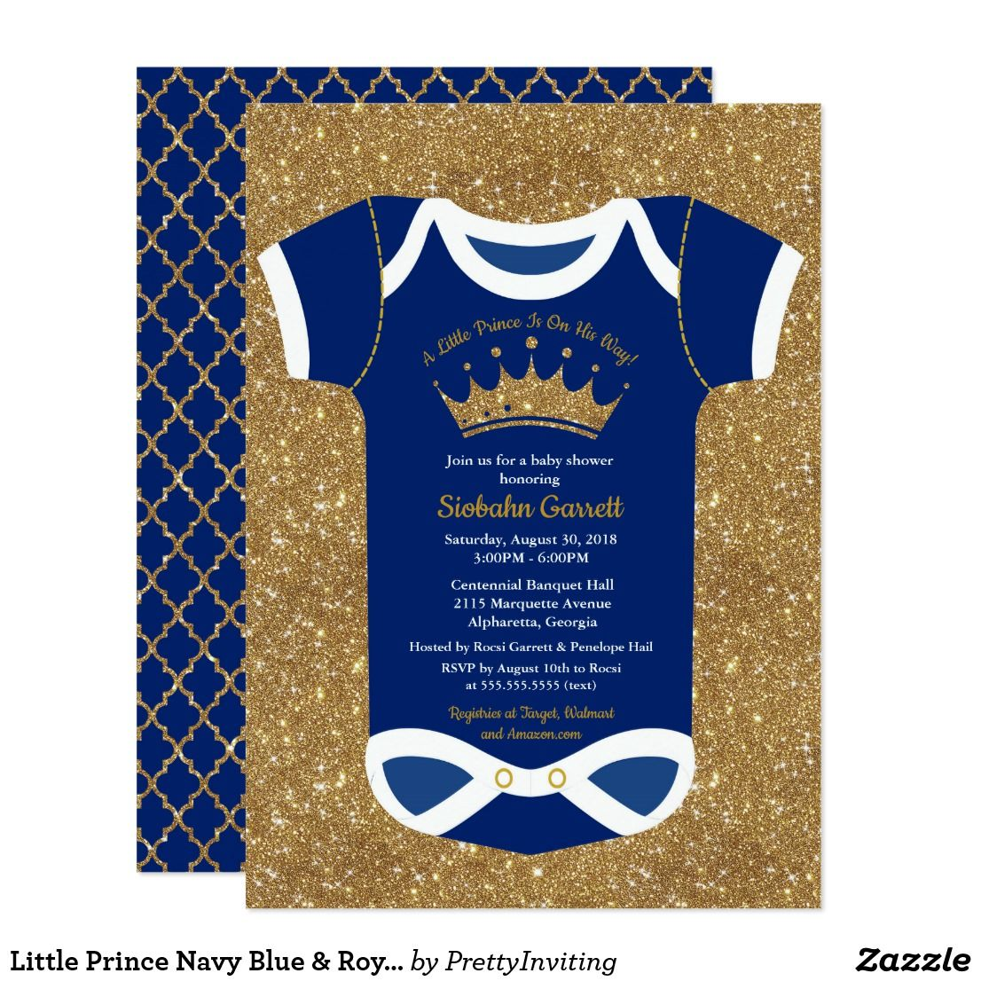 Little Prince Navy Blue & Royal Gold Baby Shower Card | Gold baby ...