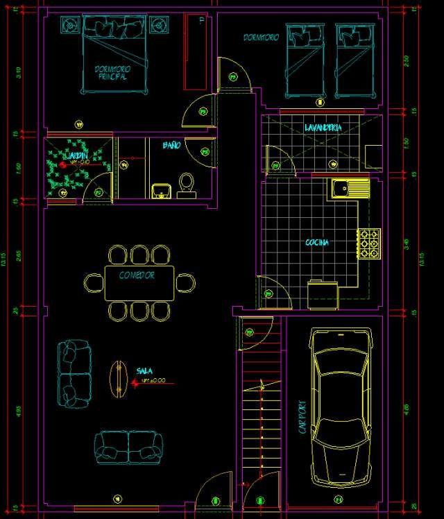 Planos de viviendas autocad autocad pinterest for Instalacion electrica jardin