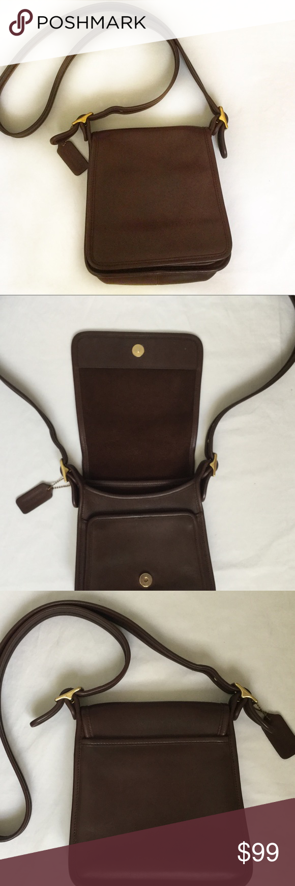 EUC Coach leather cross body bag. Like new. Beautiful dark brown Leather crossbody bag. Authentic vintage Coach. I never carried it -- it has been sitting in the back of my closet for years! So it is still stiff leather. Zero wear inside. All brass buckles are in great condition. Snap closure on front fold over flap. Exterior pocket on each side.inside zipper pocket. I just polished + buffed it so it is ready to carry around town! Coach Bags Crossbody Bags