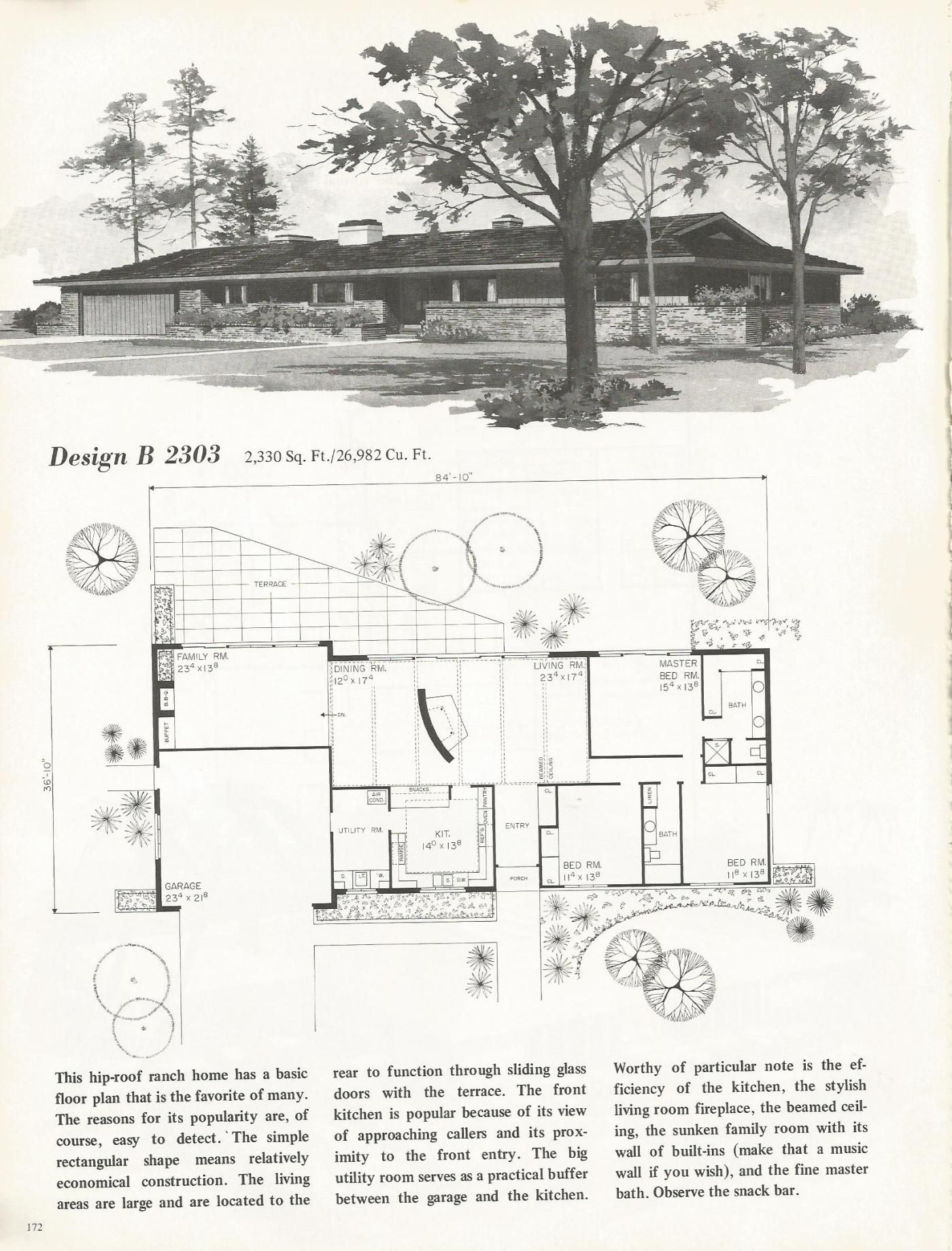 Vintage house plans 1960s mid century homes