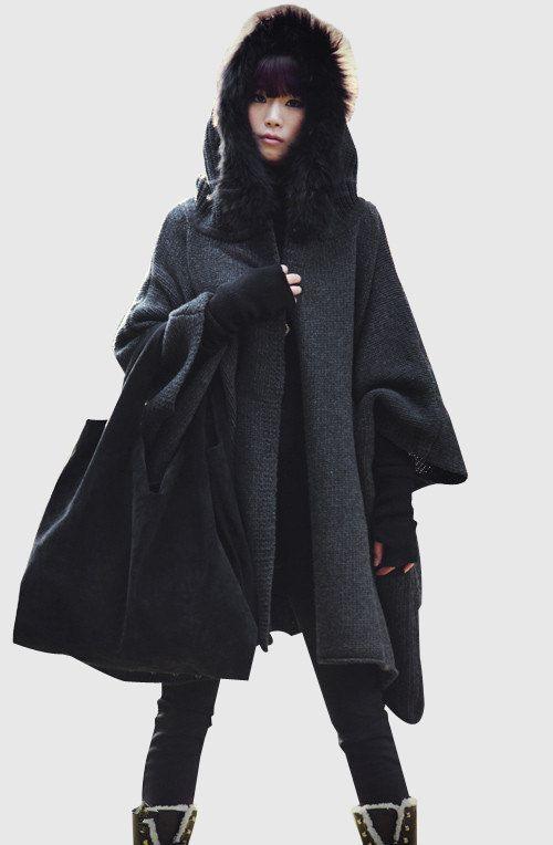 683e2e3411a Femmes noir gris cape manteau manteau d hiver tissu automne-hiver femme  laine Long tricot manteau pull manteau Cape à capuchon vêtements  jacket on  Etsy
