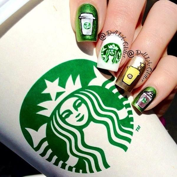 Starbucks Nails ❤ liked on Polyvore featuring nails, makeup, nail ...
