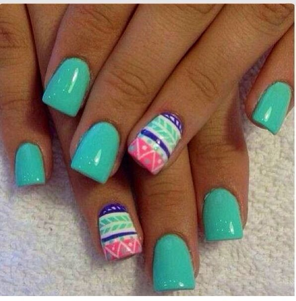 Mint Green Pink And Abstract2016 Gel Nail Trends From